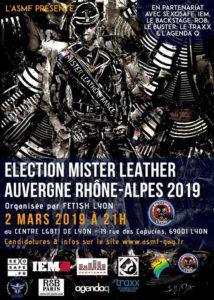 Affiche Election Mister LEather Auvergne Rhône-Alpes 2019